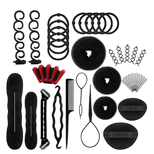 31Stk Haar Styling Design Zubehör styling Set, Haar Modellierung Tool Kit Magic Haar Clip Haarknoten Maker Braid Werkzeug für Mädchen Frauen Mode Haar Design DIY (Stirnband Kit Maker)