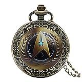 STAR TREK Relojes de bolsillo con cuarzo para hombre de Brown Logo con bordes con efecto de bronce antiguo y cadena de 80cm.