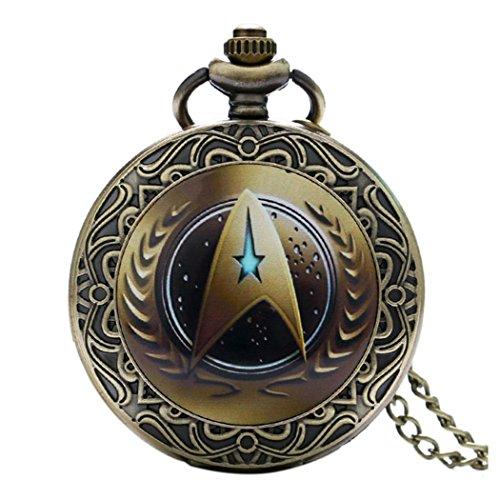 STAR TREK braunes Logo mit dekorativer Bordüre, Antikbronze-Effekt, Retro-/Vintage-Uhrwerk, Herren-Quarz-Taschenuhr-Halskette–an 80cm Kette.
