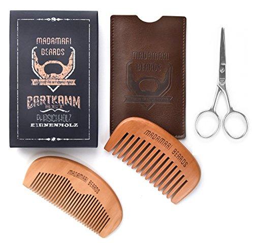Premium Bartkamm-Set inkl. Bartschere - Zwei Bartkämme speziell für lange dicke Bärte - MADAMARI BEARDS - Hochwertiges Bartpflege-Set- Mit Kunstlederetui