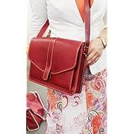 TH 335-20 sac bandoulière pour femme en cuir rouge 35 cm/lefox tHIELEMANN
