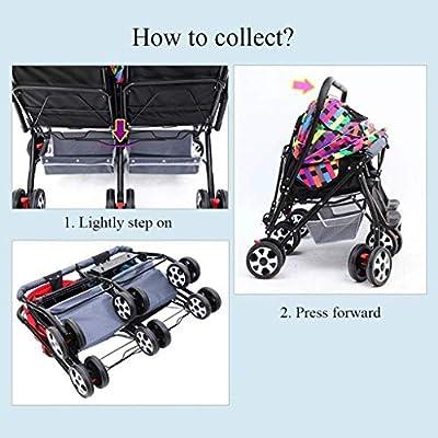 Haojiechunxiang Cochecito de bebé Gemelo Cochecito de niño Gemelo Puede Sentarse Cochecito de bebé Plegable reclinable Coche de bebé