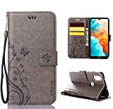 XINKO Huawei Y6 2019 Hülle, Retro Blumen Muster Design -[Ultra Slim][Card Slot] Wallet Tasche Hülle für Huawei Y6 2019 (grau)