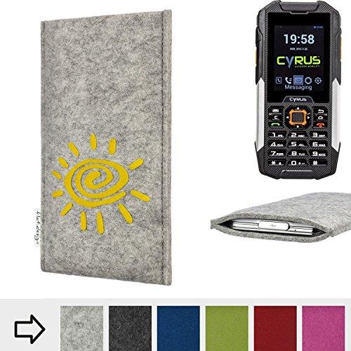 flat.design Handy Hülle für Cyrus cm 16 FARO mit Sonne Filz Schutz Tasche Etui Made in Germany fair