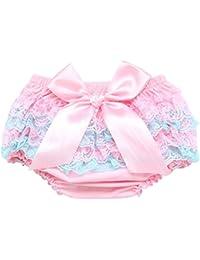 Culotte Bébé Fille Satin Floral PP Pantalon Rose Couvre-couches Dentelle pour 0-3 ans Prop Photographie Mignon Lace Rose