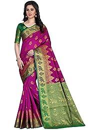 G Stuff Fashion Women Cotton saree with Blouse Piece_FD_Pink_Matka_saree