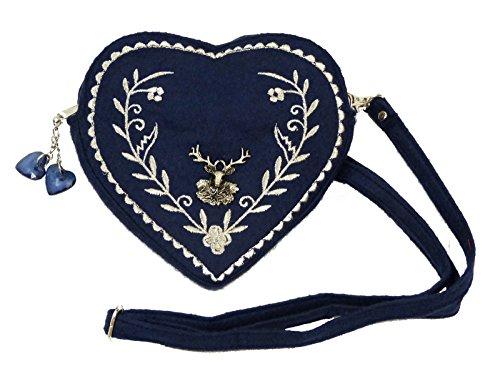 Damen Dirndl Handtasche Herz Umhängetasche - Herztasche florales Design mit Hirsch (Dunkelblau)