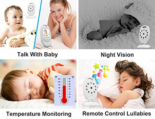 Sourcingbay 24 GHz cellular Digital Video baby Monitor 20 Inch Color LCD Display2 approach Talk Night VisionLullabiesTemperature Sensor baby Products