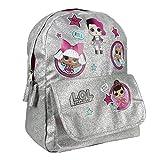 L.O.L. Surprise ! Mochilas para Niñas | Nuevas Mochilas Escolares Juveniles para Chicas De Confetti Pop | Mochila Infantil para Niños (Plata)