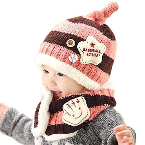 BUOCEANS Weihnachten Mütze Set, Wolle Gestrickte Schal Mützen,  Earflap Hut Kappe Schnee, Baby Strickmütze Wintermütze mit Bommel, Gefüttert, Weihnachtsgeschenk 1-4 Infant