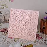 Hyaline&Dora Laser Cut Wedding Invitations Cards Kit for Marriage Engagement Birthday Bridal Shower (12)