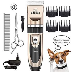 ONEISALL Tierhaarschneider Haarschneidemaschine Haarschneider Schermaschine Hund und Katze Timmer Haustier Grooming Clipper Kits Elektrische Leise Tierhaarschneidemaschine-Golden