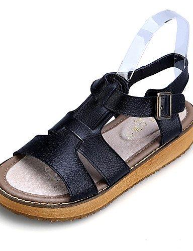 WSS 2016 Chaussures Femme - Habillé / Décontracté - Noir / Blanc / Argent - Talon Plat - Confort / A Bride Arrière / Bout Ouvert - Sandales - Cuir black-us10.5 / eu42 / uk8.5 / cn43