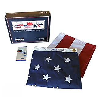 Annin American Flag 3x5 ft. Tough-Tex the Strongest, Longest Lasting Flag Flagmakers, 100% Made in USA with Sewn Stripes, Embroidered Stars and Brass Grommets. Model 2710