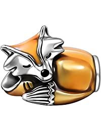 Soufeel 925 Sterling Silber Schlafend Fuchs Charm Bead