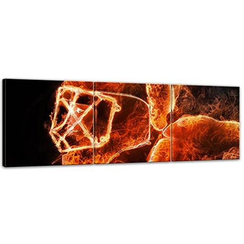 Kunstdruck - Hockeyspieler Feuer - 90x30 cm 3tlg - Leinwandbilder - Bilder als Leinwanddruck - Urban & Graphic - Wintersport - Illustration eines Hockeyhelmes