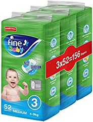 Fine Baby Double Lock, Size 3, Medium, 4-9 kg, Three Jumbo Packs, 156 Diapers