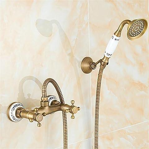 MCC Ensemble de douche avec pommeau de douche et support Système de douche Salle de bains Filtre de douche Filtre Deux poignées Antique Brass Wall Mount style européen , C