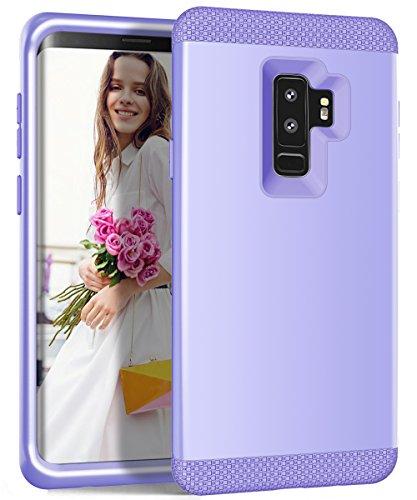 Shinyzone Hülle für Samsung Galaxy S9 Plus,Hybrid 3 in 1 Ganzkörper Rüstung Stoßfest Schutzhülle,Hybrid Weich Silikon + Hart PC Zurück Hülle für Samsung Galaxy S9 Plus,Lila