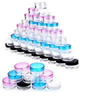 Cosmetic Empty Sample Jars Containers, Zingso 50 Pcs Mini Clear Plastic Storage Container Pot Empty Sample Cosmetic Jars with 20 Pcs Gasket for Cream,Glitter,Powder (5g/5ml) (5g/5ml)