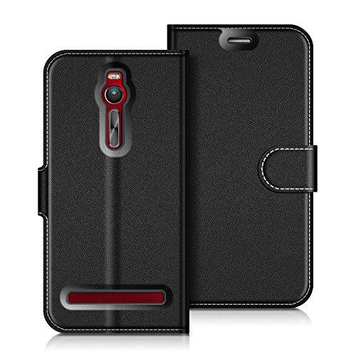 COODIO ASUS Zenfone 2 ZE551ML Hülle Leder Lederhülle Ledertasche Wallet Handyhülle Tasche Schutzhülle mit Magnetverschluss/Kartenfächer für ASUS Zenfone 2 ZE551ML, Schwarz