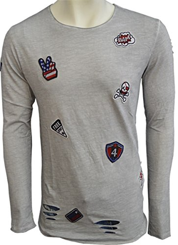 Brandneu !!! Designer Longsleeve T-Shirt von CARISMA im Vintagelook mit Beschädigungen und Patches in 3 Farben CRM3265 Grau