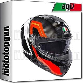 MOTOTOPGUN AGV 211201A2IY-007 MODULAR SHARP CARBONIO-ROSSO-BIANCO XXS