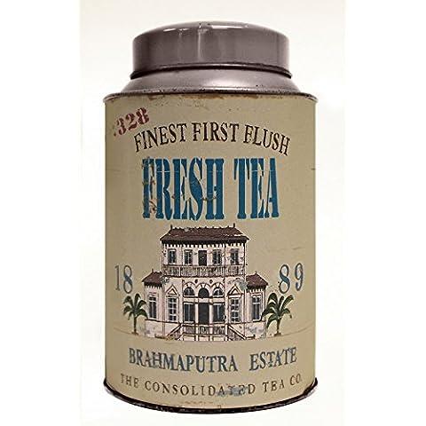 Retro / Vintage Style TEA CADDY - FIRST FLUSH DARJEELING DESIGN - Nice Cup of Tea Range - 16cm by Really Nice