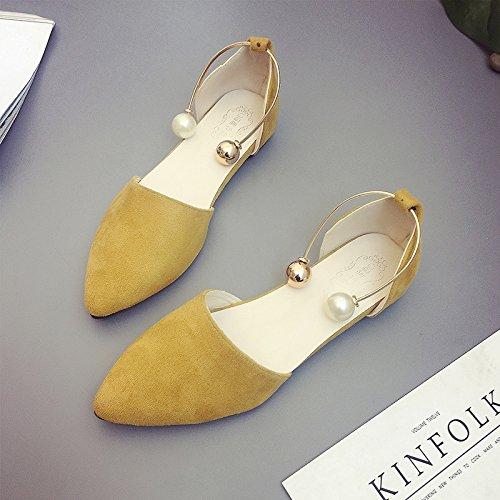 XY&GKDonna Sandali sandali estivi femmina bocca poco profonda Baotou Roma All-Match scarpe moda scarpe con punta piatta 35, Beige,con il migliore servizio 37yellow