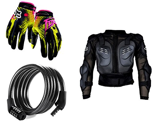 Auto Pearl Premium Quality Bike Accessories Combo of Fox Hand Grip Glove Green 1 Pair. & Cable Lock For Bicycle/Bike/Helmet/Luggage etc. & Fox Riding Gear Body Armor Protective Jacket For Bike - Black -Xtra Xtra Large.  available at amazon for Rs.1978