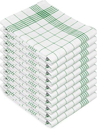 normani 10 oder 20 Halbleinen Geschirrtücher Gläsertücher Classic in 60 x 80 cm Farbe 10er Pack Grün-Kariert Größe 60 x 80 cm