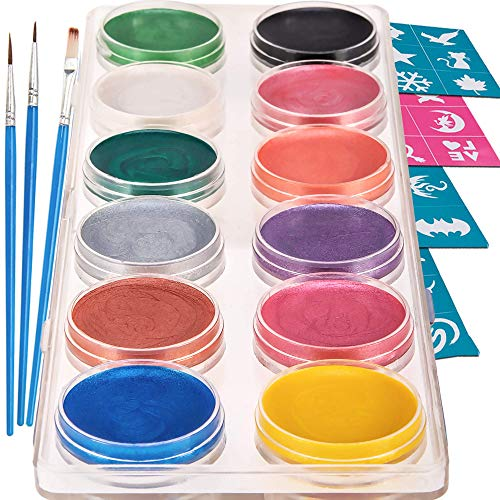 Blue Squid Kinderschminke Set Face Paint - 12 Farben Schminkpalette, Professionellemit Hochwertiges mit Kinder Schminkset Ideal für Kinder Partys & Fasching, großer Auswahl an Schminkfarben Schablonen