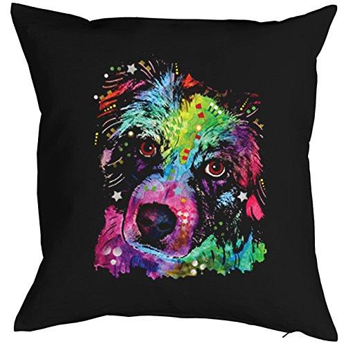 Aussie-hunde Reißverschluss (Kissenbezug, Kissenhülle, Hunde, Deko, Bezug für Kissen mit bunten Hundeportrait - Aussie, Australian Shepherd)