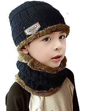 Unisex Bambini Cappello morbido e caldo lavorato a maglia e cerchio sciarpa,JUSTIME Beanie Bambino Cappello Inverno...