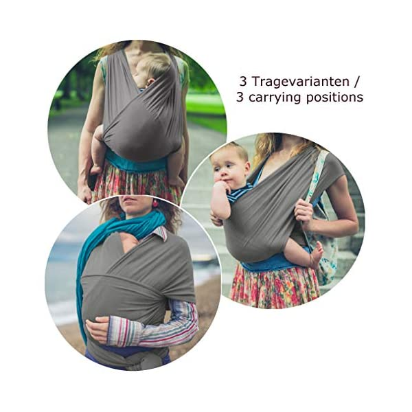 Stretchy Baby Wrap Carrier - Organic Cotton - Cozy Baby Sling Wrap for Newborn-s - Grey  DESIGNED IN GERMANY - BUY WITH CONFIDENCE - stretchy cotton jersey baby carry wrap, very soft and cuddly - especially suitable in the first months after birth - the spread-squat position ensures a good hip development NATURALLY - 100% organic cotton, free of harmful substances - only natural material - by not using chemical fibers it does not cause the baby to sweat or overheat GOOD FOR YOU AND YOUR BABY - the close body contact calms the baby - the bond to the baby is strengthened by being worn on the body - more flexibility through free hands and relief of back and arms 2
