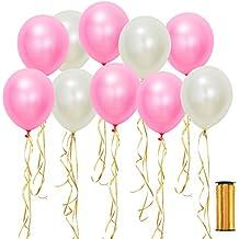 Shappy 50 Piezas 12 Pulgadas Globo Blanco Rosa con 100 Yardas Cinta Dorada para Decoración de Fiesta de Boda