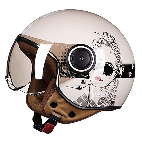 FLYFEI Retro Harley HelmMotorrad-JethelmECE GenehmigtMotorradhalbhelmJet Pilot HelmKinder Männer FrauenFür Motocross Vespa Moped Cruiser Helm,L(57~58cm) (Mädchen Motocross Helm)