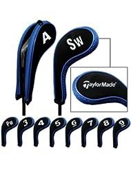 Taylormade número imprimir funda con cremallera de palo de golf hierrof con cuello largo 10pcs/set negro/azul MT/TL02