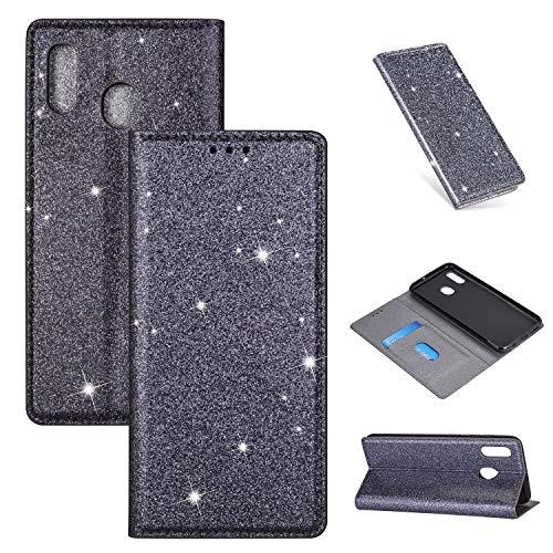 Nadoli Glitzer Wallet Hülle für Galaxy A20/30,Bling Schutzhülle Leder Flip Case Lederhülle mit Kartenfach Standfunktion Klappbar Magnetisch Etui für Samsung Galaxy A20/30