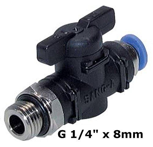 """Absperrhahn mit Steck- und Gewindeanschluss - zylindrisch - Steckverbinder -Pneumatikverbinder - Push In ( G 1/4"""" x 8mm)"""