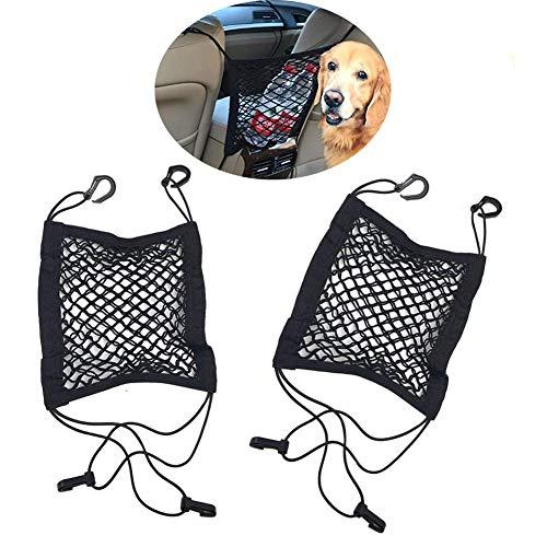 Bello Luna 2 Stücke Speicher Netze für Autositz, elastische Schnur und Haken Pouch Halter Auto Rücksitz Speicherorganisator verhindern stören Stopper -