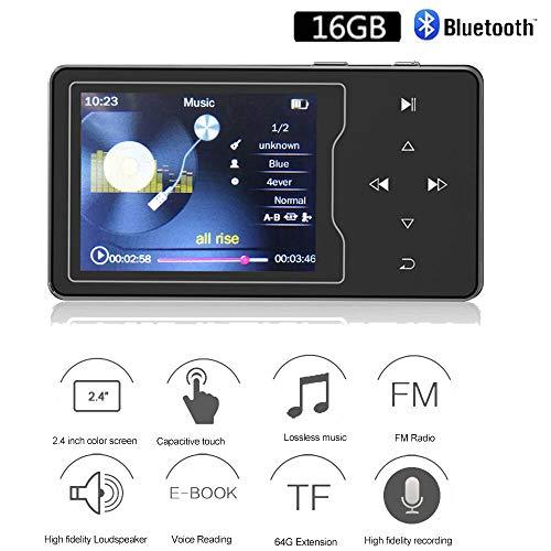 CCHKFEI MP3-Player 16GB Bluetooth Verlustfreie Metall-Bluetooth-Musikwiedergabe mit Lautsprecher Schwarz