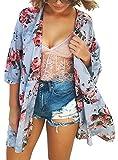 ECOMBOS Damen Strandkleider Sommer - Bikini Cover Up, Strandponcho Damen Kleid Quasten, Gestrickte Cover Up-Kleider für Frau Badeanzug Strand Kittel (Blume-Blau)