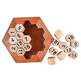 Digital Platter Puzzle Classical Puzzle Toys Brain Teaser Wooden Hexagon Digital...