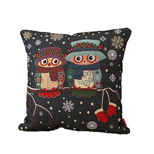 Eulen-Thema-Baumwoll Leinen-dekorativer Kissen-Kasten-Fußboden-Kissen-Kasten Winter-Liebe (Dekorative Winter Kissen)