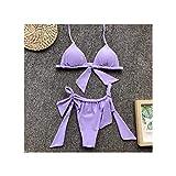 FJLOKE& neon Green Bikinis Mujer Simple Bandage Bikini Set Triangle Bra Split Swimsuit Shirred Bathing Suit Women Leopard Swimwear Purple L