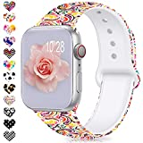 Jiamus Armband Kompatibel für Apple Watch 38mm 40mm 42mm 44mm,Soft Silikon Classic Ersatz...