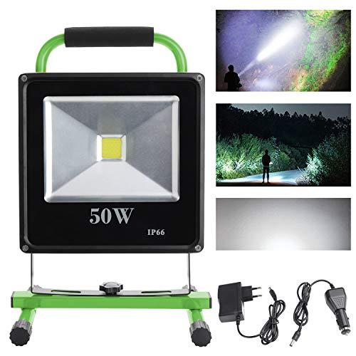 VINGO® 50W Blanc Projecteur LED Portable Rechargeable Pour Camping, Garage, Terrasse, Jardin, Abri etc