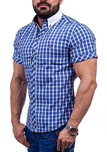 BOLF Kurzarm Herrenhemd Hemd Figurbetont Freizeit Slim Fit 5531 Mittelblau