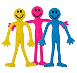Fiddle Toys | Sensory Toys | 3 Mixed Colour Smiley Bendy Men by StressCHECK (Yellow, Blue and Pink) - Relief from Stress, ADHD & Autism